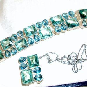 RESERVED Beautiful New Aquamarine Rhinestone/Glass
